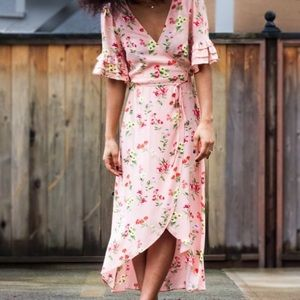 Ruffle sleeve floral wrap dress